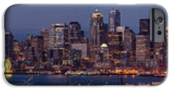 Safeco iPhone Cases - Wide Panorama of the Seattle Skyline at Dusk iPhone Case by Mike Reid