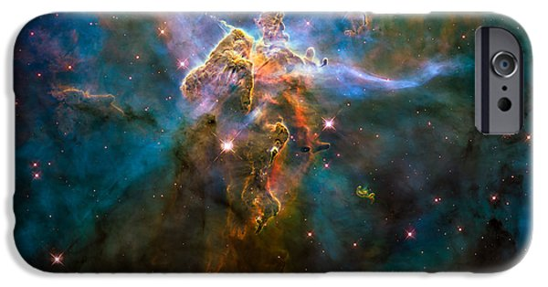 Constellations iPhone Cases - Wide View of Mystic Mountain iPhone Case by Marco Oliveira