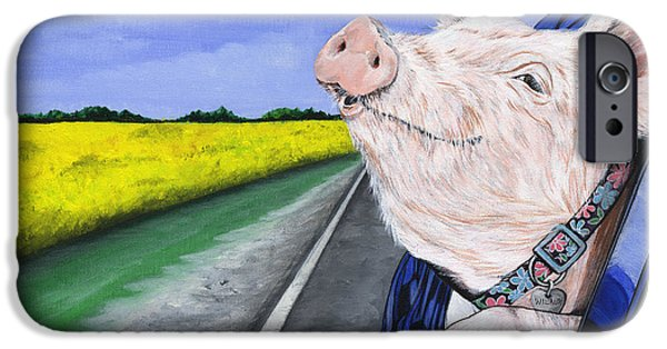 Pigs iPhone Cases - Wilbur iPhone Case by Twyla Francois