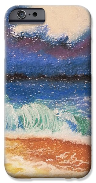 Abstract Expressionist Pastels iPhone Cases - Wild Beach iPhone Case by Florentina Maria Popescu