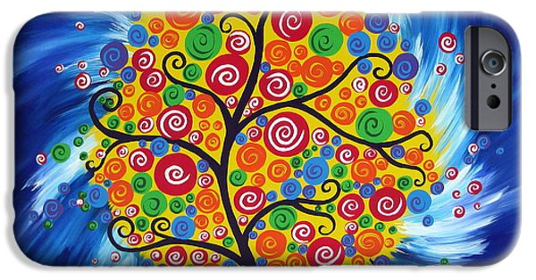 Abstract On Canvas Paintings iPhone Cases - Wild Dream Tree iPhone Case by Cathy Jacobs
