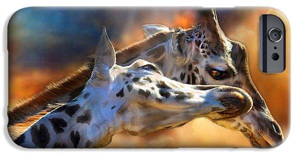 Giraffe iPhone Cases - Wild Dreamers iPhone Case by Carol Cavalaris