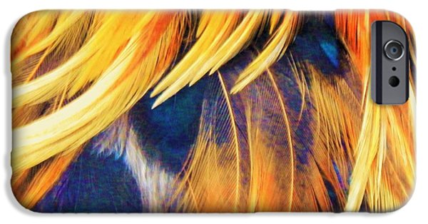 Abstract Digital Photographs iPhone Cases - Wild Feather Abstracts iPhone Case by Jan Gelders