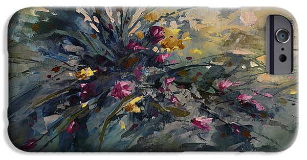 Pallet Knife Paintings iPhone Cases - Wild Flowers iPhone Case by Michael Lang