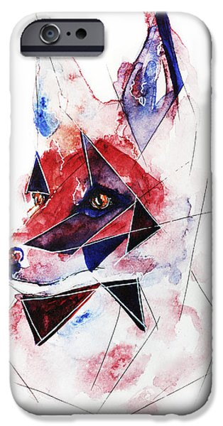 Figure iPhone Cases - Wild Fox  iPhone Case by Alexandra-Emily Kokova