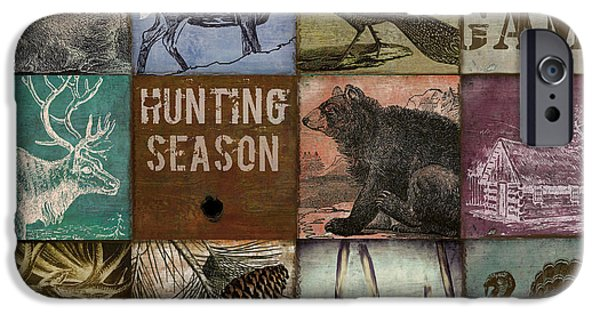 Wild Animals iPhone Cases - Wild Game Patchwork iPhone Case by Mindy Sommers