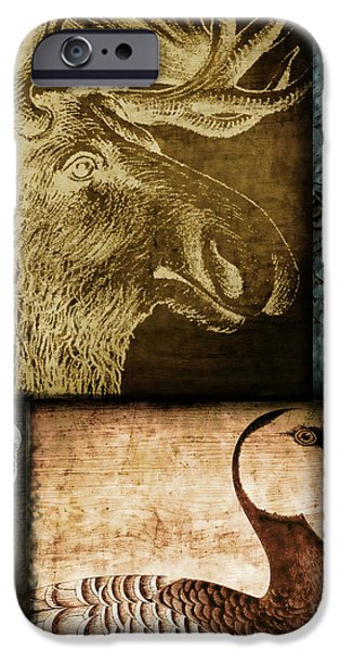 Wild Animals iPhone Cases - Wild Game Primitive Patchwork iPhone Case by Mindy Sommers