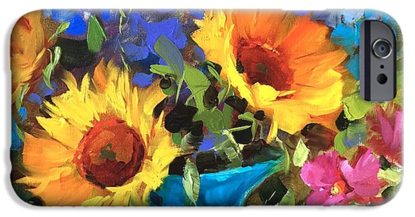Sunflower Paintings iPhone Cases - Wild Garden Sunflowers iPhone Case by Nancy Medina