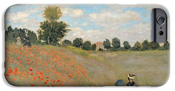 D iPhone Cases - Wild Poppies near Argenteuil iPhone Case by Claude Monet