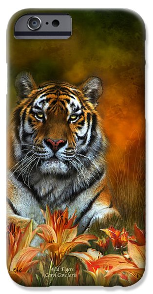 Bengal Tiger iPhone Cases - Wild Tigers iPhone Case by Carol Cavalaris
