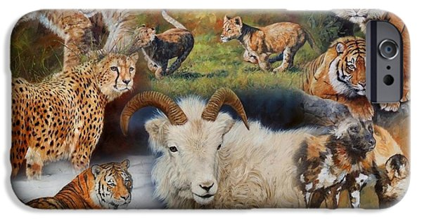 Lion Print iPhone Cases - Wildlife Collage iPhone Case by David Stribbling