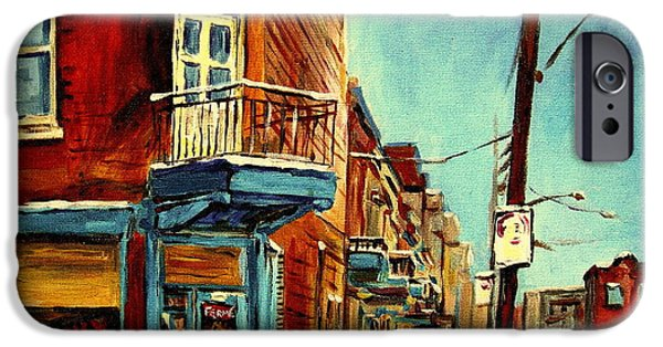 Montreal Neighborhoods Paintings iPhone Cases - Wilenskys Corner Fairmount And Clark iPhone Case by Carole Spandau
