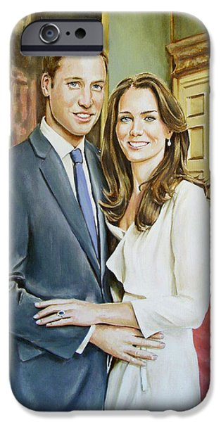 Duchess Paintings iPhone Cases - William and Kate iPhone Case by Andy Lloyd