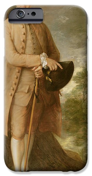 Costumed Figures In Landscape Paintings iPhone Cases - William Johnstone Pulteney iPhone Case by Thomas Gainsborough