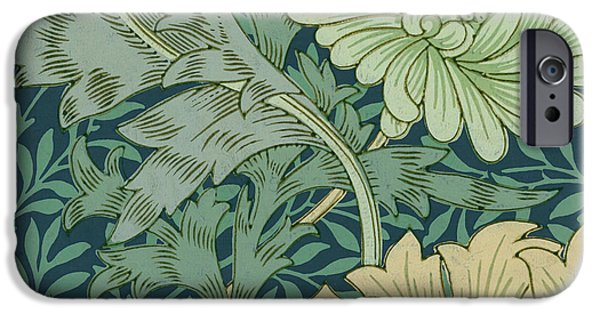 Samples iPhone Cases - William Morris Wallpaper Sample with Chrysanthemum iPhone Case by William Morris
