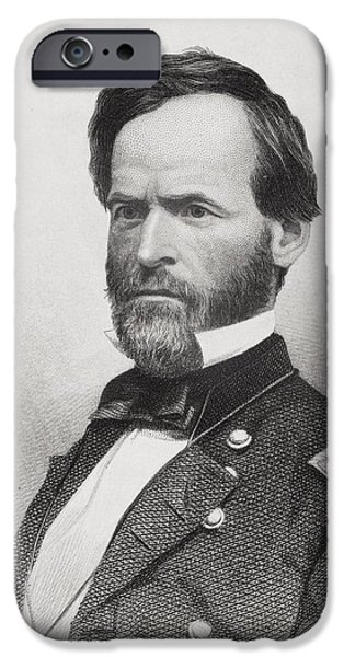 War iPhone Cases - William T. Sherman 1820 To 1891. Union iPhone Case by Ken Welsh