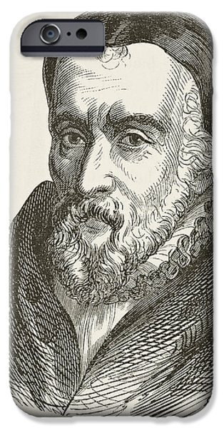 Religious Drawings iPhone Cases - William Tyndale 1494 To 1536 Bible iPhone Case by Ken Welsh
