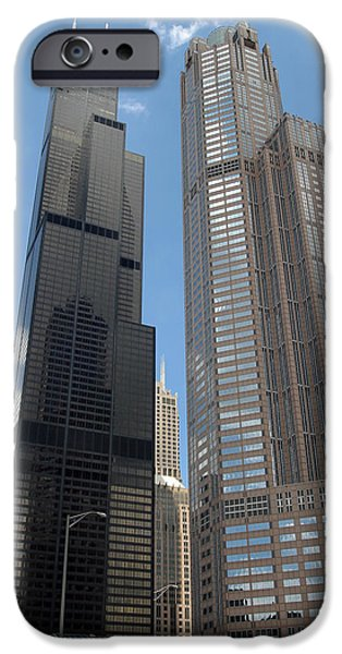 Willis Tower iPhone Cases - Willis Tower aka Sears Tower and 311 South Wacker Drive iPhone Case by Adam Romanowicz