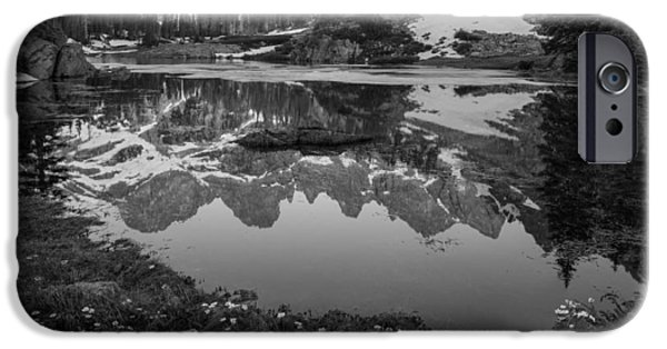 Willow Lake iPhone Cases - Willow Lake Black and White iPhone Case by Aaron Spong