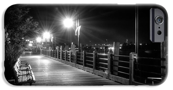 Floral Photographs iPhone Cases - Wilmington Riverwalk At Night in Black and White iPhone Case by Greg Mimbs