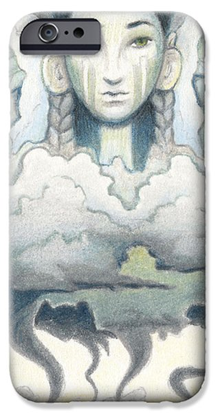 Aceo iPhone Cases - Wind Spirit Dances iPhone Case by Amy S Turner
