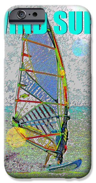 Wind Surfing Art iPhone Cases - WIND SURF smart phone blue text iPhone Case by David Lee Thompson