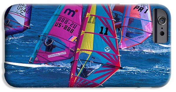 Sail Board iPhone Cases - Wind Surfers in Nassau iPhone Case by Carl Purcell