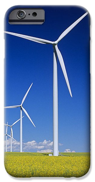 Canola Field iPhone Cases - Wind Turbines In Canola Field, Near St iPhone Case by Dave Reede