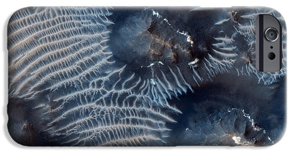 Windblown Paintings iPhone Cases - Windblown Sediments. Noctis Labyrinthus. Mars iPhone Case by Celestial Images