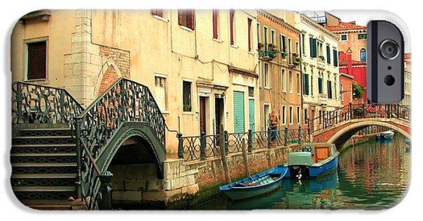 Historic Site iPhone Cases - Winding Through The Watery Streets of Venice iPhone Case by Barbie Corbett-Newmin