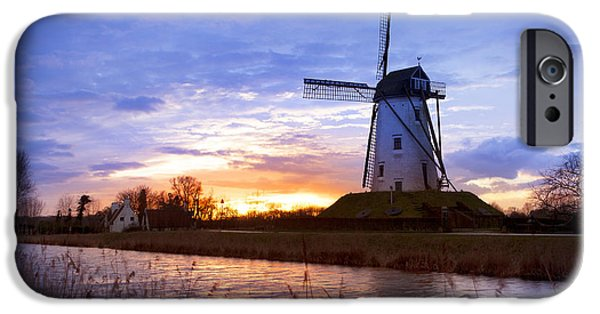 Belgium iPhone Cases - Windmill at Dusk iPhone Case by Simon Kayne