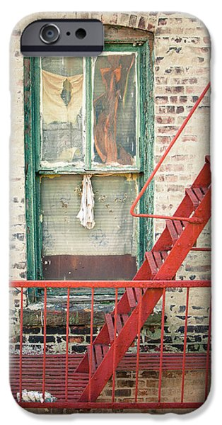 Window and red fire escape iPhone Case by Gary Heller