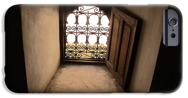 Historic Site iPhone Cases - Window at Ben Youssef Medrassa iPhone Case by Cindy Kellogg