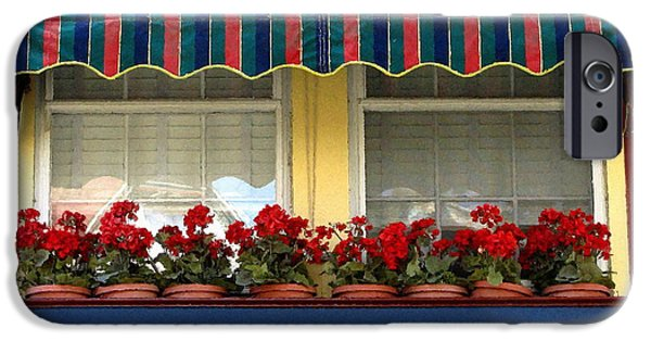Red Geraniums iPhone Cases - Window Box Geraniums iPhone Case by Colleen Kammerer