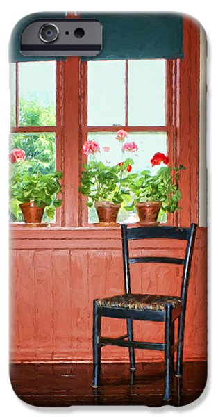 Furniture iPhone Cases - Window - Chair - Geraniums iPhone Case by Nikolyn McDonald