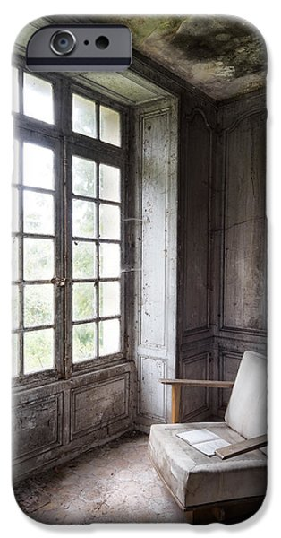 Furniture iPhone Cases - Window Seat - Abandoned Building iPhone Case by Dirk Ercken