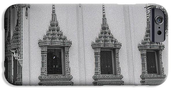 Buddhist Pyrography iPhone Cases - WINDOWS THAI TEMPLE-FOMAPAN 100 ISO-Nikon  FM2n LENS 50MM 1.4 AI-S  iPhone Case by Nicholas  Allaniaris