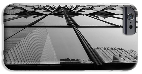Freedom iPhone Cases - Windows And Reflections Of One W T C  B W iPhone Case by Rob Hans