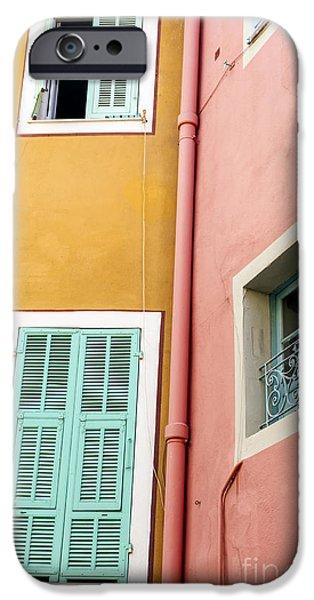 Facade iPhone Cases - Windows in Villefranche-sur-Mer iPhone Case by Elena Elisseeva