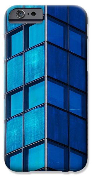 Blue Abstracts iPhone Cases - Windows To A Point iPhone Case by Karol  Livote