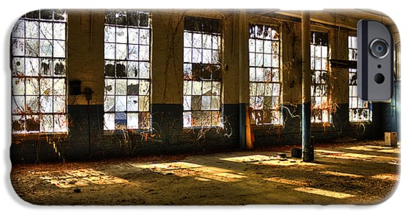 Glass Wall iPhone Cases - Windows Windows Mary Leila Cotton Mill 1899 iPhone Case by Reid Callaway