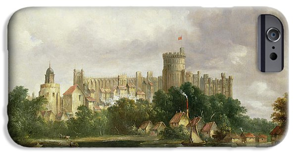 River View Paintings iPhone Cases - Windsor Castle - from the Thames iPhone Case by Alfred Vickers