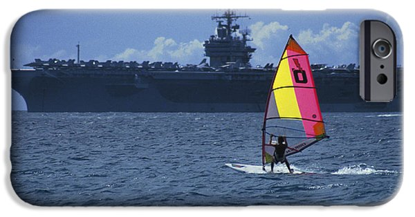 Windsurfer iPhone Cases - Windsurfer and Aircraft Carrier iPhone Case by Carl Purcell