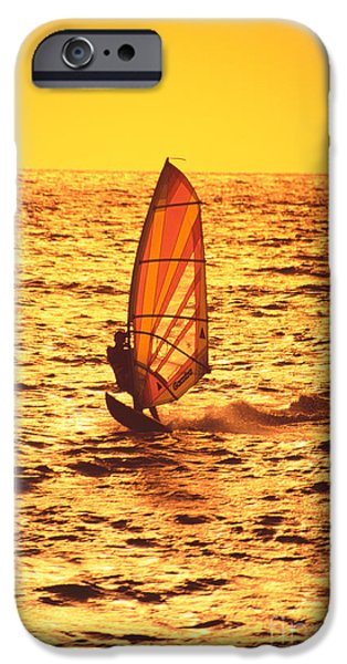 Windsurfer iPhone Cases - Windsurfer At Sunset iPhone Case by Dave Fleetham - Printscapes
