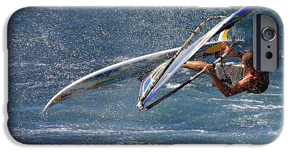 Sail Board iPhone Cases - Windsurfer big air in big waves Hookipa Maui Hawaii iPhone Case by Pierre Leclerc Photography