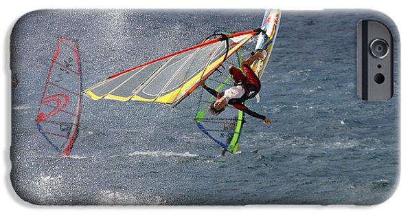 Windsurfer iPhone Cases - Windsurfer getting airtime at Hookipa Maui Hawaii iPhone Case by Pierre Leclerc Photography