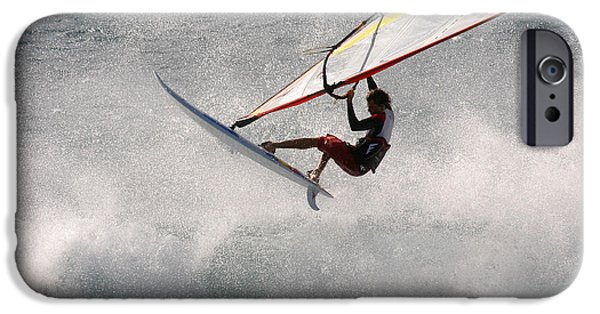 Windsurfer iPhone Cases - Windsurfer in big waves Hookipa Maui Hawaii iPhone Case by Pierre Leclerc Photography