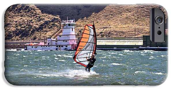 Windsurfer iPhone Cases - Windsurfer On Columbia River iPhone Case by Inga Spence