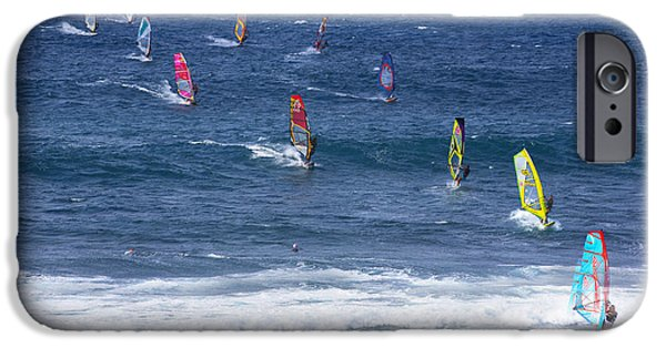 Sail Board iPhone Cases - Windsurfing in Maui Hawaii iPhone Case by Diane Diederich
