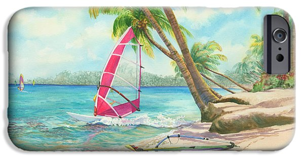 Windsurfer iPhone Cases - Windsurfing the Tropics iPhone Case by Marguerite Chadwick-Juner